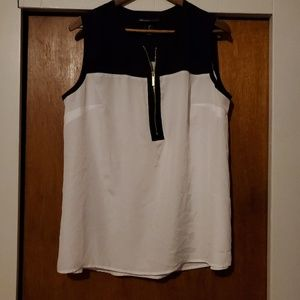 Lane Bryant Zip Front Black and White Top